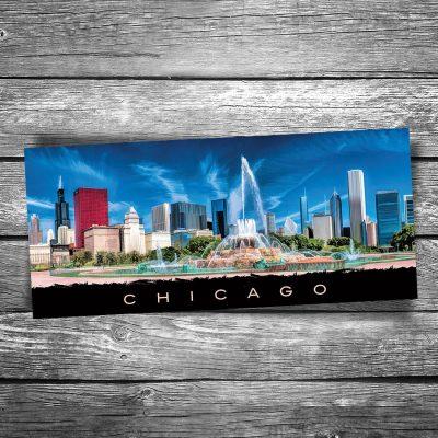 Chicago Buckingham Fountain Panorama Postcard