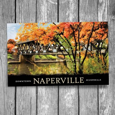 Naperville Covered Bridge Autumn Postcard