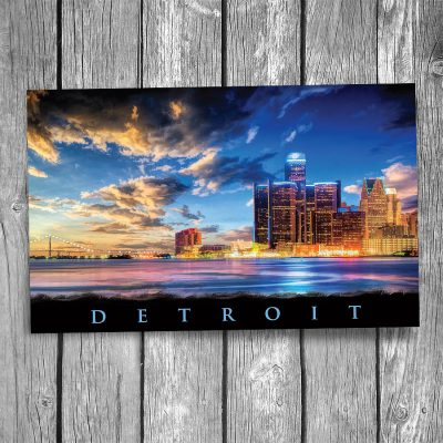 Detroit Skyline Sunset Postcard