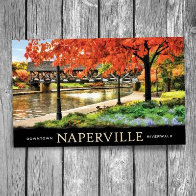 Naperville Riverwalk Covered Bridge Postcard