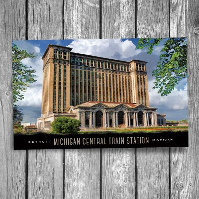 Detroit Michigan Central Train Station Postcard