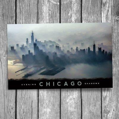 Chicago Skyline Shadows Postcard