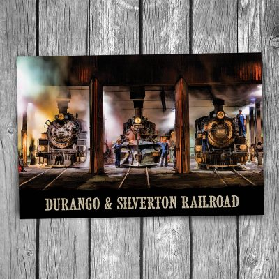 Durango Silverton Steam Engine Roundhouse Postcard