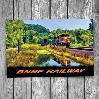 BNSF Freight Train Reflection Postcard