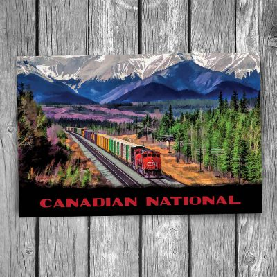 Canadian National Alberta Freight Train Postcard