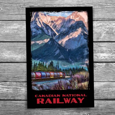 Canadian National Rockies Freight Train Postcard
