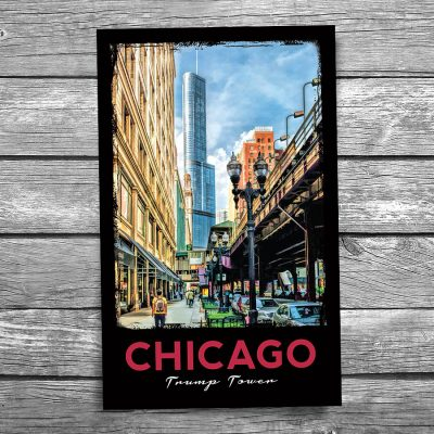 """Chicago Historic """"L"""" and Trump Tower Postcard"""