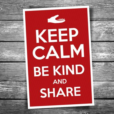 Keep Calm Be Kind and Share Postcard