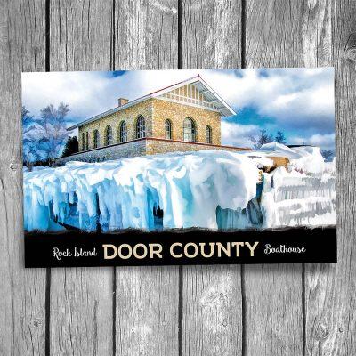 Door County Rock Island Boathouse Winter Postcard