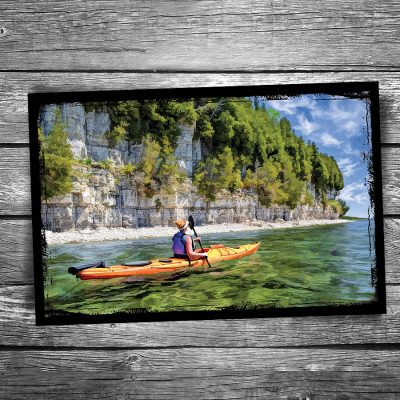 Door County Rock Island Kayaking Postcard