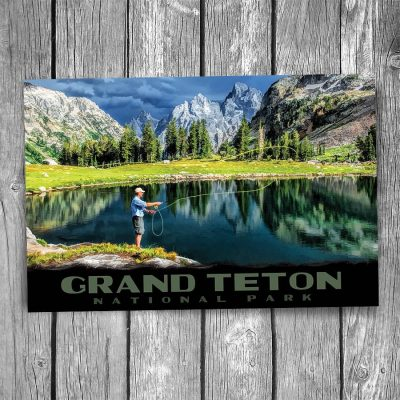 Grand Teton National Park Fly Fishing Postcard