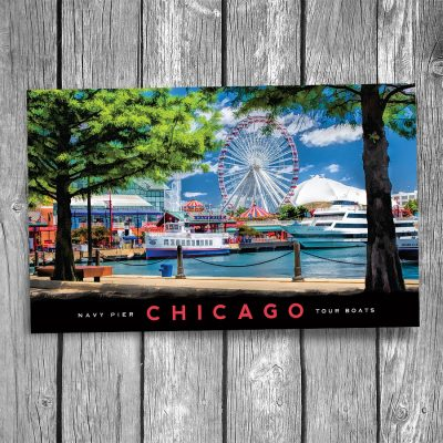 Chicago Navy Pier Tour Boats Postcard