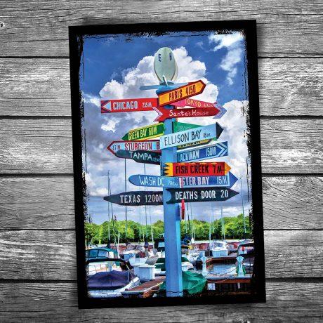 184-Door-County-Direction-Sign-Postcard