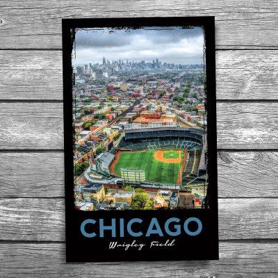 Wrigley Field and Chicago Skyline Postcard
