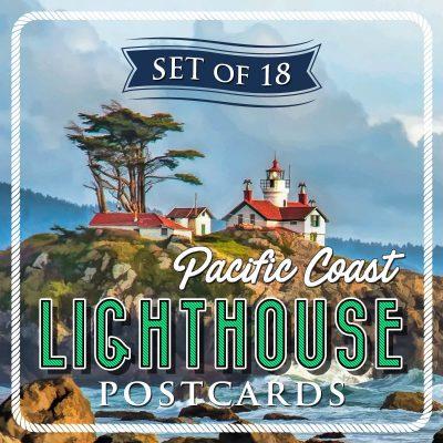 Pacific Coast Lighthouse Postcards | Set of 18