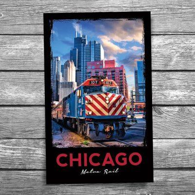 Chicago Metra Train Postcard