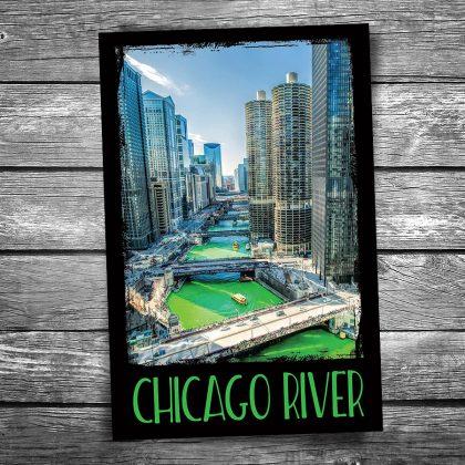 Green Chicago River Postcard