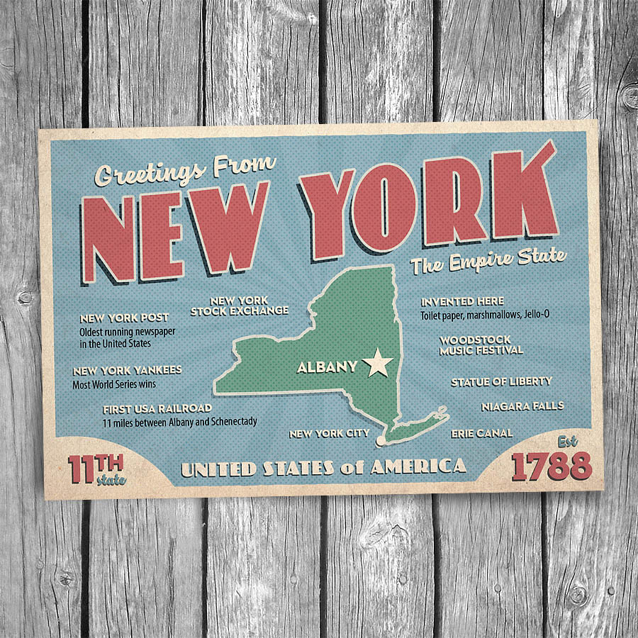 Greetings from new york state postcard christopher arndt postcard co 20 111 new york postcard m4hsunfo
