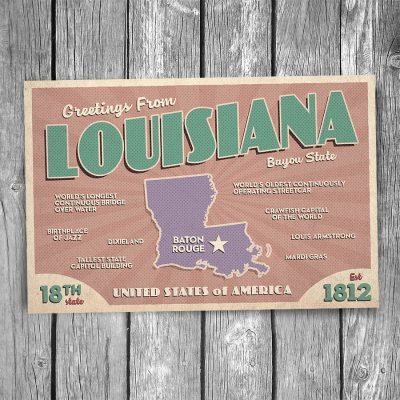Greetings from Louisiana Postcard