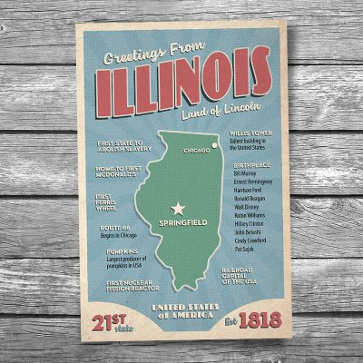 Greetings from Illinois Postcard