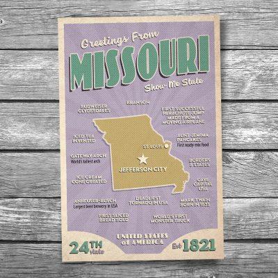 Greetings from Missouri Postcard