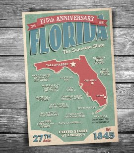 175th Anniversary Greetings From Florida Postcard