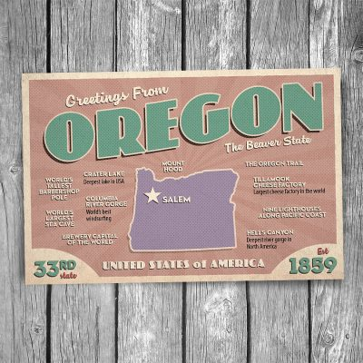 Greetings from Oregon Postcard