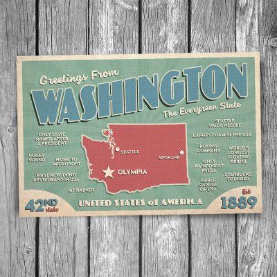 Greetings from Washington State Postcard