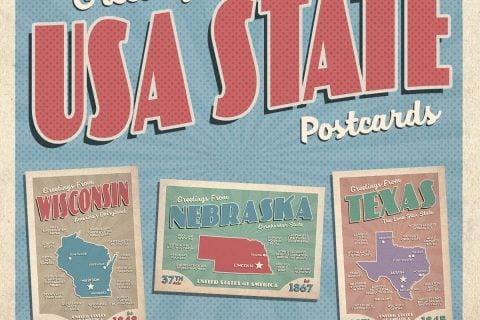 USA State Postcards Set of 50