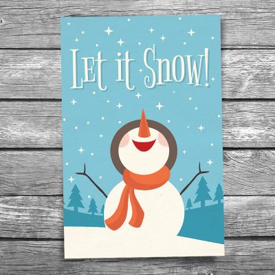 Let It Snow Christmas Postcard
