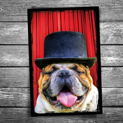 Top Hat Dog Postcard