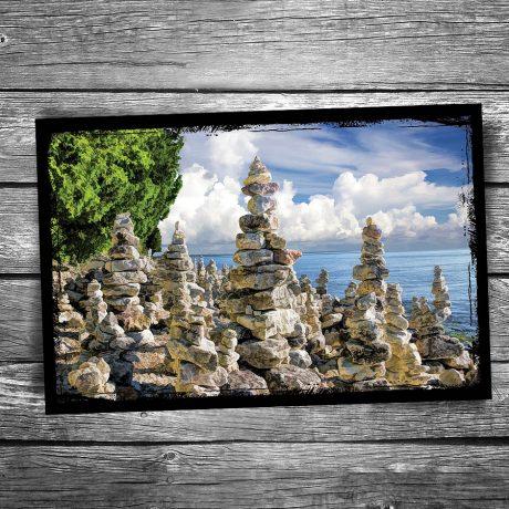 232-Cave-Point-Rock-Cairns-Door-County-Postcard