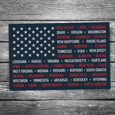 USA State Flag Postcard