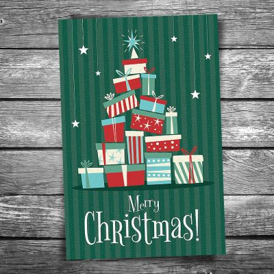 Tree of Gifts Christmas Postcard