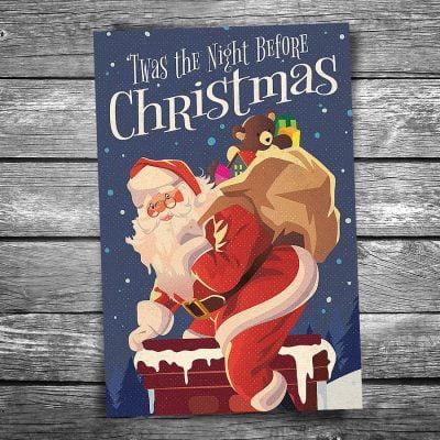 Santa Claus Chimney Christmas Postcard