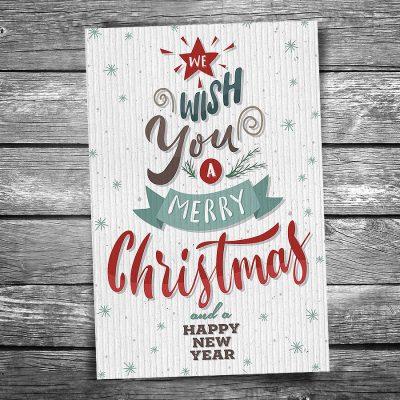 Word Tree Christmas Postcard