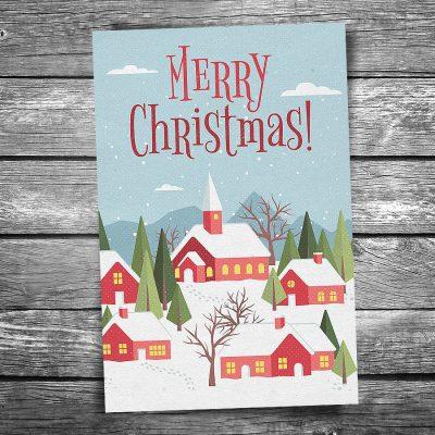 Snowy Town Christmas Postcard