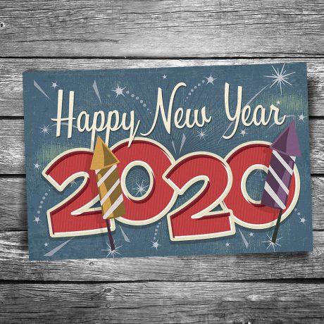 Happy New Year 2020 Postcard