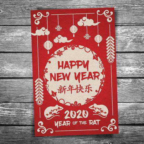 Year of the Rat Lunar New Year Postcard