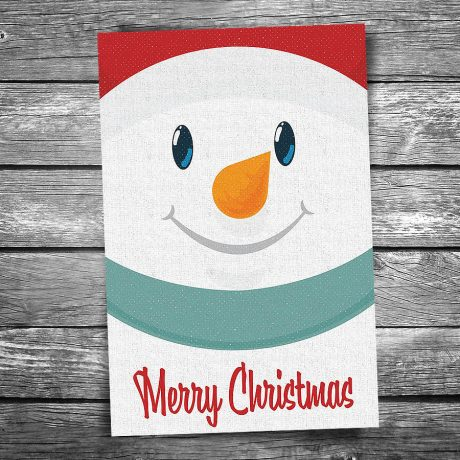 Smiley Snowman Postcard