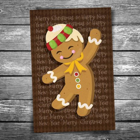 Gingerbread Man Christmas Postcard