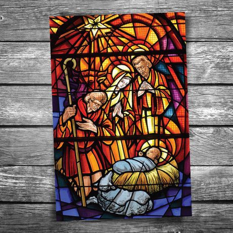 Stained Glass Nativity Christmas Postcard