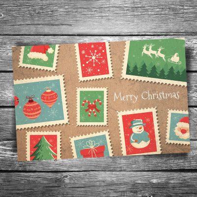Christmas Stamps Postcard