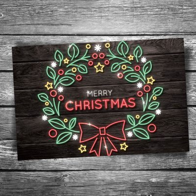 Christmas Neon Wreath Postcard