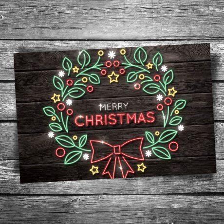 24-127-Christmas-Neon-Wreath-Postcard