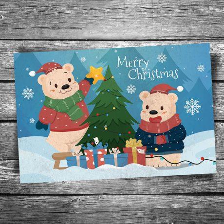 24-129-Christmas-Bears-Postcard