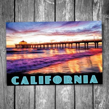 Manhattan Beach Pier Sunset Postcard
