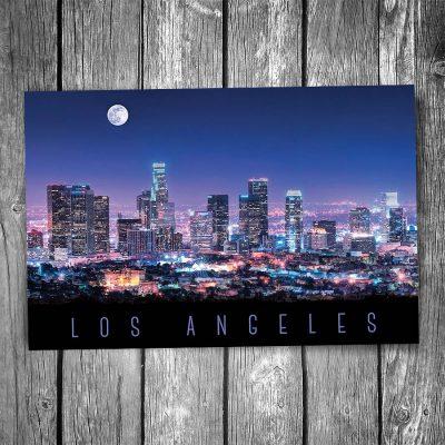 Los Angeles Night Skyline Postcard