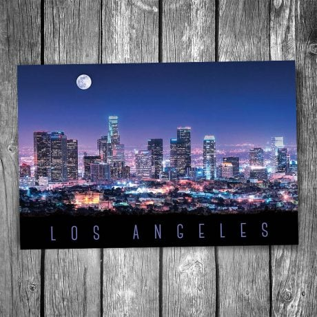Los Angeles Night Skyline Postcard