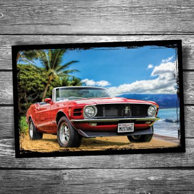 Ford Mustang Beach Postcard